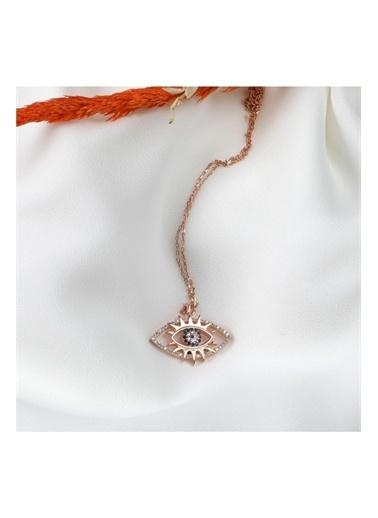 Enesstore Gümüş Rose Renk Nazar Gözlü Kirpikli Bayan Gümüş Kolye Pembe